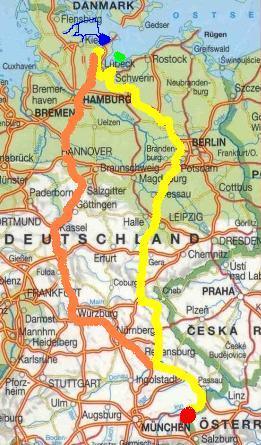 PKW-Reiseroute - gelb HIN - orange RETOUR