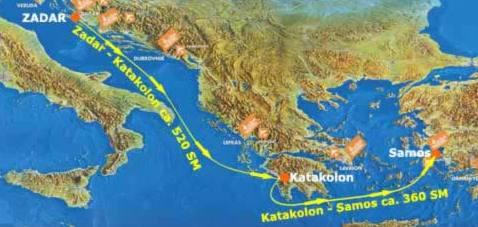 Route EC 2007 - Zadar > Katakolon > Samos