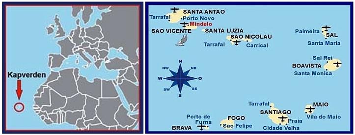 Lage und Karte der Kapverden !